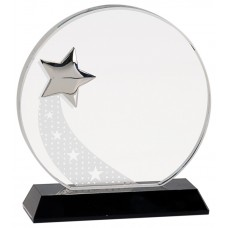 """NEW"" Round Crystal with Silver Star on Black Pedestal Base"